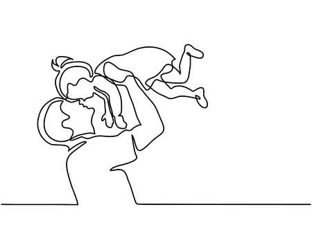 Continuous line drawing father holding happy daughter up in air. Vectores