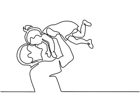 Ononderbroken lijntekening vader die gelukkige dochter in lucht tegenhoudt.