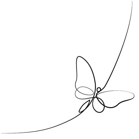 Dibujo continuo de una línea de ancho diferente. Logotipo de mariposa volando. Ilustración de vector de blanco y negro. Concepto para logo, tarjeta, banner, cartel, flyer Logos