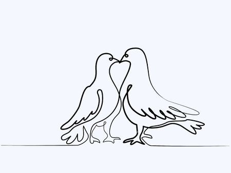 Continuous one line different width drawing. Two pigeons Valentine Day.