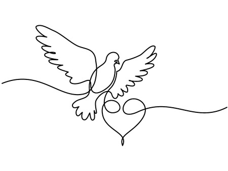 Continuous one line drawing. Flying pigeon with heart Valentine Day logo.