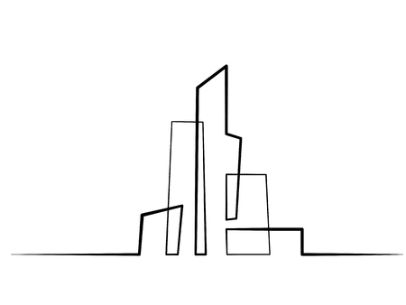 Continuous line drawing. Building Cityscape Line Art Silhouette. Vector illustration Vettoriali