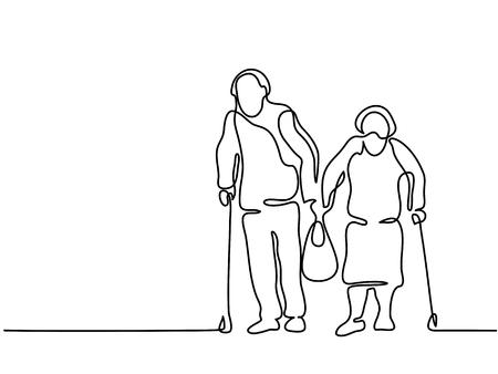 Continuous line drawing. Happy elderly couple walking with bag. Vector illustration Ilustração