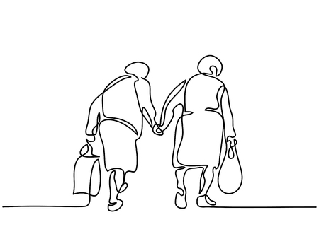 Continuous line drawing. Elderly women friends walking. Vector illustration