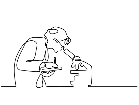 Scientist woman looking through microscope in laboratory. Continuous line drawing. Vector illustration on white background. Vettoriali