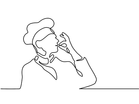 Continuous line drawing. Chef or cook making tasty delicious gesture by kissing fingers isolated on white vector illustration.