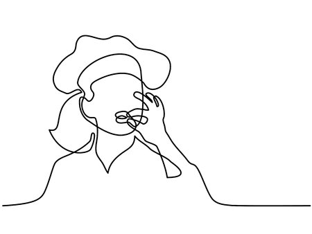 Continuous line drawing. Chef or cook woman making tasty delicious gesture by kissing fingers isolated on white vector illustration.