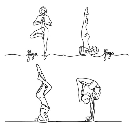 Set Continuous line drawing. Woman doing exercise in yoga pose. Vector Illustration Vettoriali