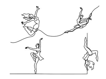 Set continuous Line Art Drawing. Ballet Dancer ballerina. Vector Illustration