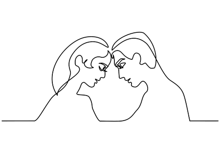 Continuous line drawing. Man and Woman silhouettes in love on white background. Black line faces profiles. Vector illustration Illustration