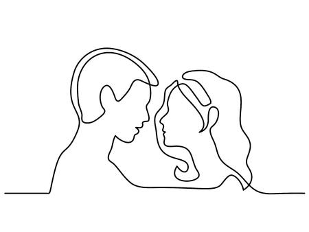 Doorlopende lijntekening. Man en vrouwensilhouetten in liefde op witte achtergrond. Zwarte lijn staat voor profielen. Vector illustratie