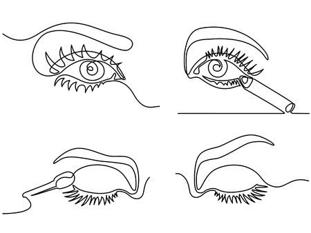 Set continuous continuous line drawing. Woman eye make up logo. Black and white isolated outline vector illustration. Concept for logo, card, banner, poster, flyer