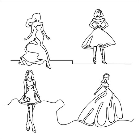 Set continuous silhouette of a slender woman bride in dress. Continuous line drawing. Vector illustration