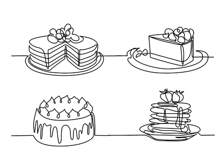 Set continuous line drawing of big cake.