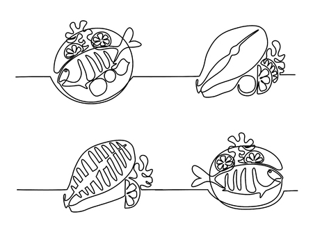 Set continuous line drawing of grilled fish on plate with lemon and potato. Ilustração