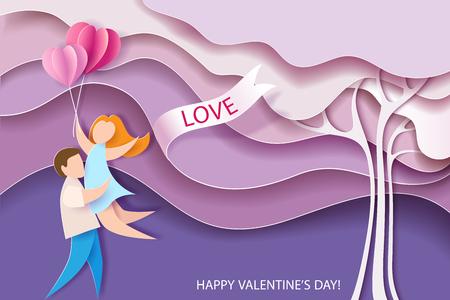 Tarjeta del día de san valentín. Fondo abstracto con pareja, globos de corazones y árbol rosa. Ilustracion vectorial Corte de papel y estilo artesanal.