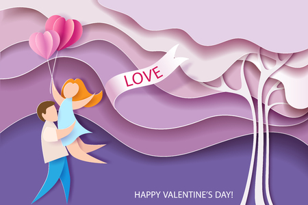 Valentines day card. Abstract background with couple, hearts balloons and pink tree. Vector illustration. Paper cut and craft style.