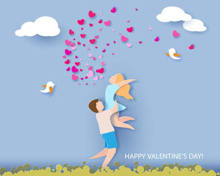 Valentines day card. Abstract background with couple in love, hearts and blue sky. Vector illustration. Paper cut and craft style.