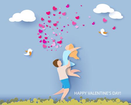 Tarjeta del día de san valentín. Fondo abstracto con pareja en el amor, corazones y cielo azul. Ilustracion vectorial Corte de papel y estilo artesanal. Foto de archivo - 93487248