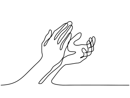 Continuous line drawing. Clapping hands with applause. Vector illustration.