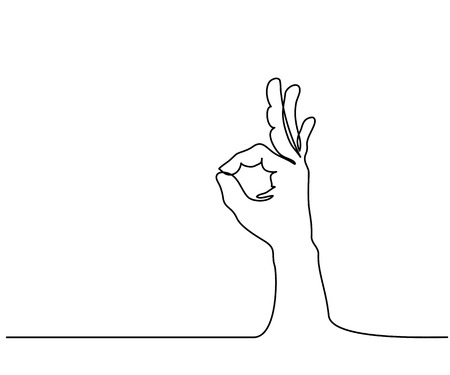 Continuous line drawing. Hand in ok sign on a white isolated background. Vector illustration.
