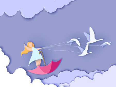 Valentines day card. Abstract background with happy girl flying on umbrella with swans and blue sky. Vector illustration. Paper cut and craft style.