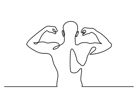 Continuous Line Drawing. Strong Athletic man Vector Illustration
