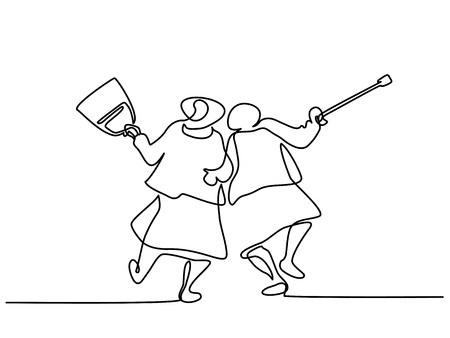Continuous line drawing. Elderly women friends walking and dancing Vector illustration