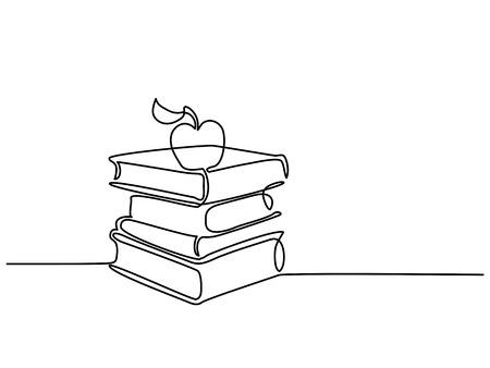 Ciągłe rysowanie linii. Stos książek z jabłkiem. Ilustracji wektorowych