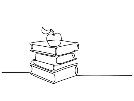 Continuous line drawing. Stack of books with apple. Vector illustration