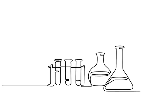 Continuous line drawing. Chemical lab retorts. Vector illustration