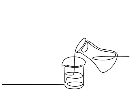 Continuous line drawing. Chemical lab retorts with liquid. Vector illustration