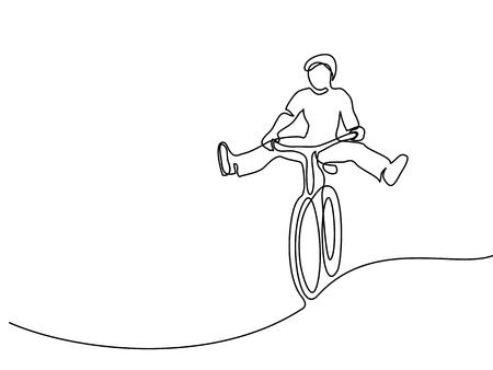 Desenho de linha contínuo. Homem em uma bicicleta se divertir. Desenhado à mão. Ícone, ilustração vetorial, foto, tatuagem Ilustración de vector