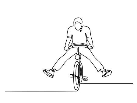 Doorlopende lijntekening. Man op een fiets veel plezier. Met de hand getekend. Pictogram, vectorillustratie, afbeelding, tattoo