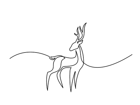 Continuous line drawing. Deer logo. Vector illustration Illustration