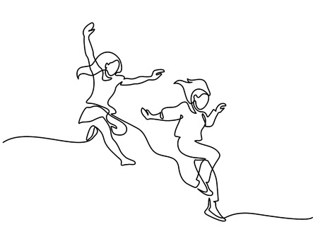 Happy jumping two girls. Continuous line drawing. Vector illustration on white background