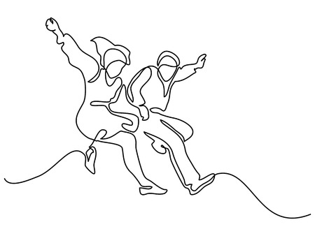 Happy jumping couple. Continuous line drawing. Vector illustration on white background