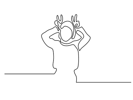 Continuous line drawing. Woman showing horns gesture behind head with fingers. Vector illustration
