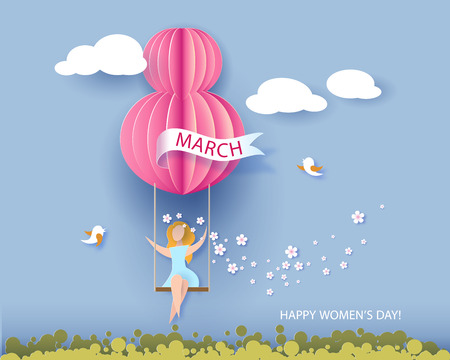 Card for 8 March womens day. Woman on teeterboard. Abstract background with text and flowers .Vector illustration. Paper cut and craft style.