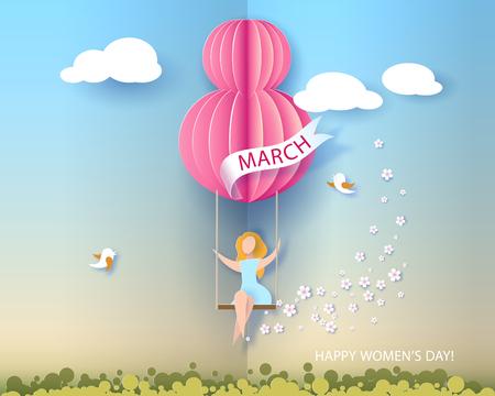 Karte für den 8. März Frauentag. Frau auf Teeterboard. Abstrakter Hintergrund mit Text und Blumen Auch im corel abgehobenen Betrag. Papierschnitt und Bastelstil.