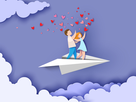 Valentines day card. Abstract background with couple in love flying on paper airplane, hearts and blue sky. Vector illustration. Paper cut and craft style.