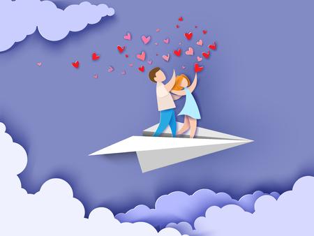 Tarjeta del día de san valentín. Fondo abstracto con pareja de enamorados volando en avión de papel, corazones y cielo azul. Ilustración vectorial Corte de papel y estilo artesanal.