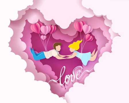 Valentines day card. Abstract background with couple in love flying, hearts balloons and blue sky. Vector illustration. Paper cut and craft style. Illustration