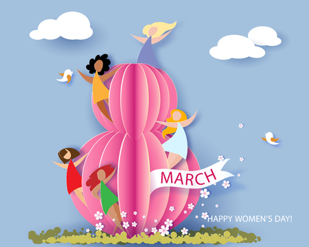 Card for 8 March womens day. Abstract background with text, flowers and women different nationalities. Vector illustration. Paper cut and craft style.