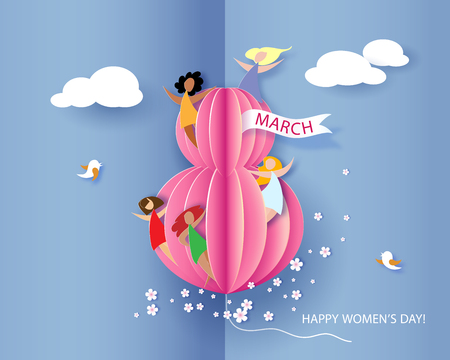 Card for 8 March womens day. Abstract background with text, flowers and women different nationalities. Vector illustration. Paper cut and craft style. Zdjęcie Seryjne - 94793015