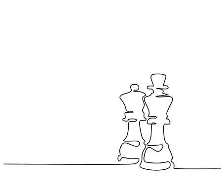 Continuous line drawing. Chess pieces queen and king. Vector illustration Stock Illustratie
