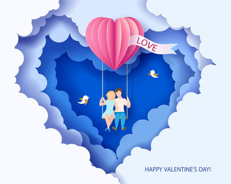 Valentines day card. Abstract background with couple in love on teeterboard, heart balloon and blue sky. Vector illustration. Paper cut and craft style.