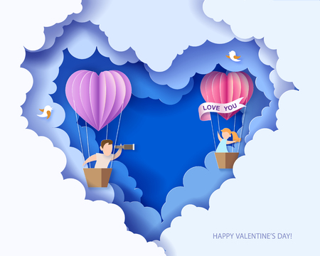 Valentines day card. Abstract background with couple in love in balloon basket, heart and blue sky. Vector illustration. Paper cut and craft style. Vectores