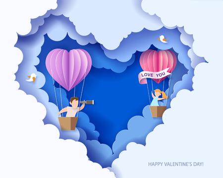 Valentinstagskarte. Abstrakter Hintergrund mit Paaren in der Liebe im Ballonkorb, im Herzen und im blauen Himmel. Vektor-illustration Papierschnitt und Bastelstil.