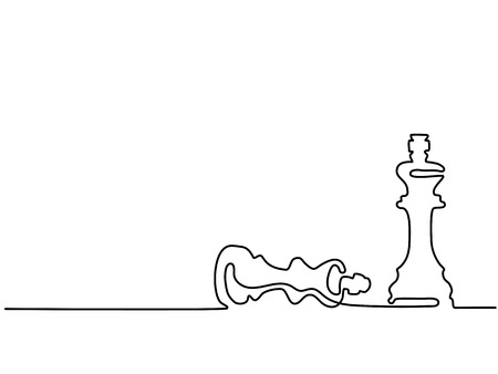 Continuous line drawing. Chess pieces queen and king vector illustration.